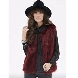 Faux Fur RUE 21 Vest (Burgundy)